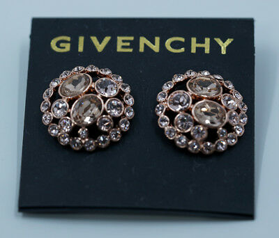 Givenchy Earrings Round Pave Crystal Button Rose Gold Tone Post Back NEW