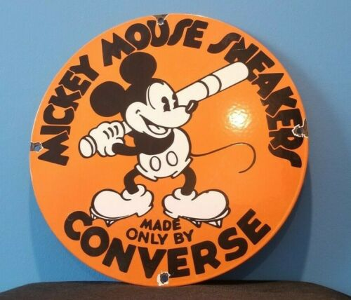 VINTAGE CONVERSE SNEAKERS PORCELAIN MICKEY MOUSE BASEBALL SERVICE SALES SIGN