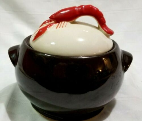 """Shawnee 6"""" KENWOOD COVERED LOBSTER BOWL Black White Red RETRO MOD Soup D3"""
