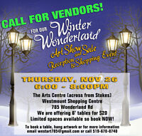 CALL FOR VENDORS ARTS & CRAFTS SHOPPING EVENT