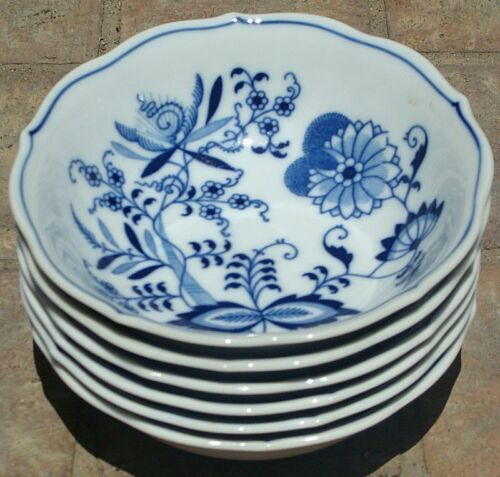 "7 Blue Danube 6"" Cereal Soup Bowls Near Mint Condition Rectangle Logo L@@K!"