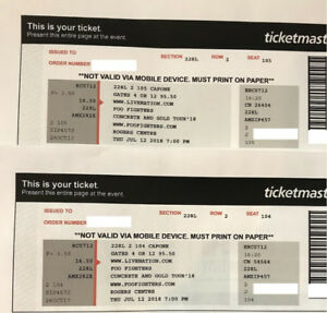 Foo Fighters Tickets for 2 tickets