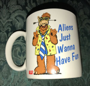 "Vintage 1987 ALF Tv Show Alien Mug ""Aliens Just Wanna Have Fun"""