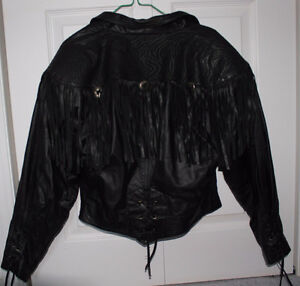 Women's 100% Leather Black Biker Jacket, Mint Condition!