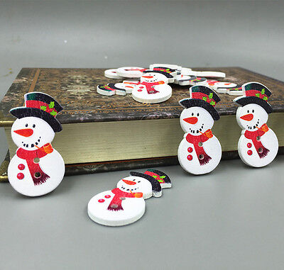 Mr. Snowman Wooden Buttons Fit Sewing crafts scrapbooking Christmas 36mm - Wooden Snowman Crafts