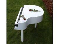 Pianist for weddings and events with white piano shell