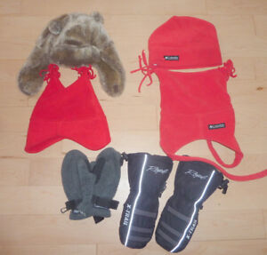 6 winter hats, 3 pairs of gloves, size 3 - 5 years