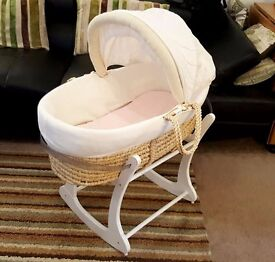 SOLD very good condition Mothercare moses basket with rocking stand, mattress + 2 pink sheets