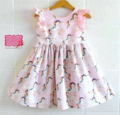 US Stock Kids Baby Girls Lace Cartoon Unicorn Party Pageant Tutu Dress Sundress - Tutu Dress