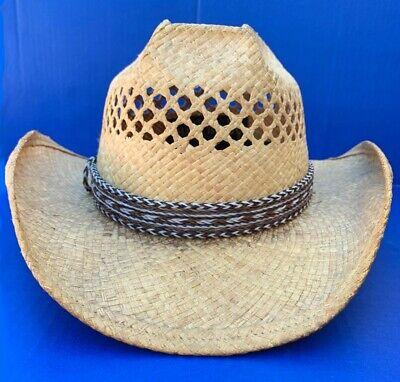 Western Decor Cowboy HAT BAND 7 Strand Brown/Black/White Horsehair Single Tassel
