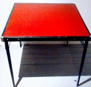 MID CENTURY Red VINYL METAL Folding Card Table Vintage Antique