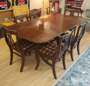 Duncan Phyfe Drop Leaf Table w/6 Recovered Lyre Harp Chairs