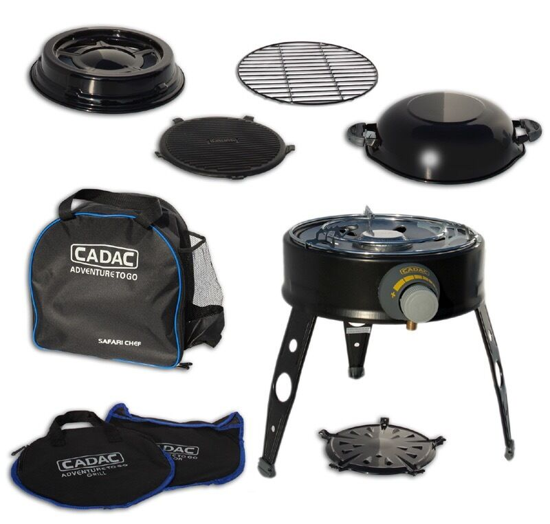 cadac safari chef gas bbq camping campervan braai outdoor food garden cooker grill in. Black Bedroom Furniture Sets. Home Design Ideas