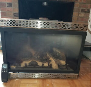 Natural Gas fireplace insert with remote control