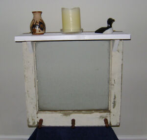 Vintage Window Coat/Towel Rack with Shelf