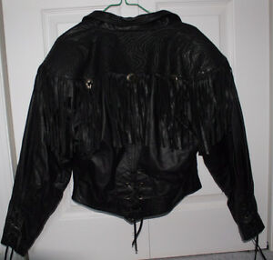 BERMANS Black 100% LEATHER Fringe Jacket, Ladies SMALL