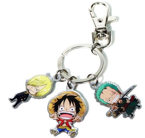 One Piece Anime Keychain Double-Sided Chibi Art Luffy Ace Zorro Sanji Law Sabo