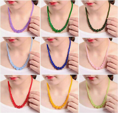 - 6-14mm Natural Multi-Color Jade Round Gemstone Tower Beads 18KWGP Clasp Necklace