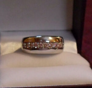 Eternity Wide Band  Ring – Pink Austrian Crystals - Silver