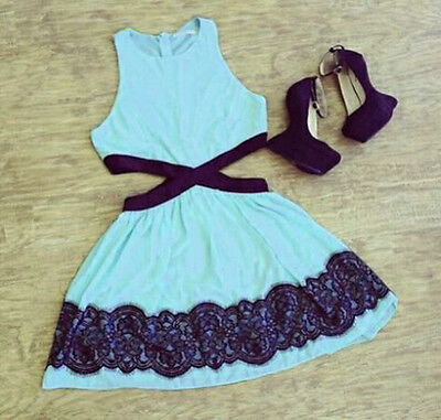 Sexy Women Summer Sleeveless Lace Casual Evening Cocktail Party Short Slim Dress