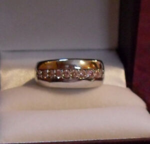Eternity Wide Band – Pink Austrian Crystals - Silver - Size 9