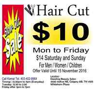 Hair Cut for All just $10 in Whitehorn Cont. Kamal 403-402-8964