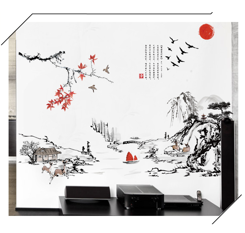 Asian Oriental Style Wall Art Stickers Scenery Mural Decals Wallpaper Home  Decor