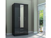 ~Birlea~ Lynx Wardrobe 3 door 2 drawer wardrobes white or black available massive savings