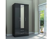 lynx 3dr wardrobe / wardrobes with mirror brand new factory packed as in picture bargain