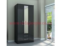 three door two drawer wardrobe, lynx black/white wardrobes, huge discount, call now to be scammed