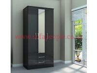 black 3 door 2 drawer wardrobes with mirror in the middle, also got white, fantastic wardrobe,