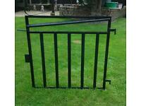 Newly painted black metal garden gate