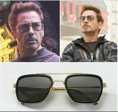Tony Stark Sunglasses Men Square Metal Avengers Iron Man Sun Glasses Edith NEW