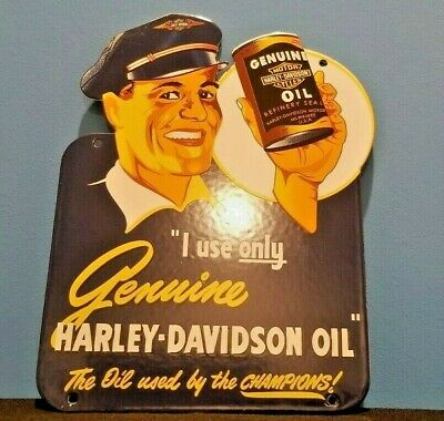 VINTAGE HARLEY DAVIDSON MOTORCYCLE PORCELAIN GAS SERVICE STATION DOOR PUSH SIGN