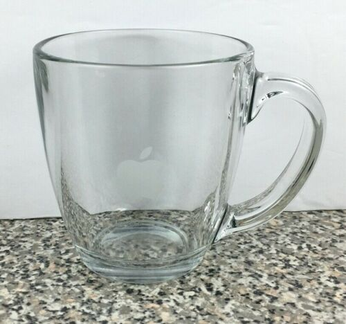 Apple Computer Clear Etched Glass Coffee Mug Tea Cup