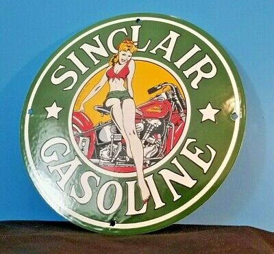 SINCLAIR GASOLINE PORCELAIN GAS VINTAGE STYLE INDIAN MOTORCYCLE PIN UP GIRL SIGN