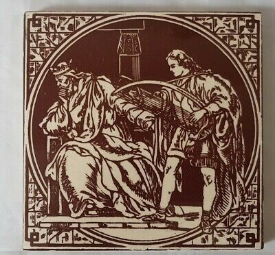 STUNNING KING AND COURTIER MINTON HOLLINS VICTORIAN 6 INCH TILE  19TH CENTURY
