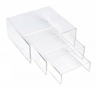 Simbalux Acrylic Display Risers Clear Stand Set Of 3 Medium Low Profile Tiered