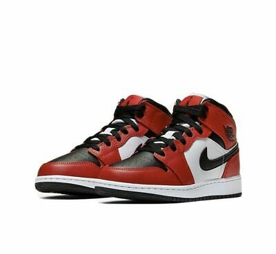Nike Air Jordan 1 Mid GS Chicago Black Toe Gym Red 554725-069 Size 3.5Y-7Y