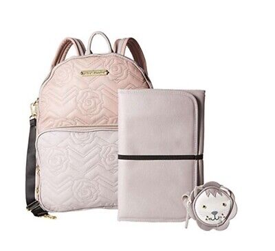NWT Betsey Johnson Convertible Pink Backpack Diaper Bag with Pacifier Case & Mat