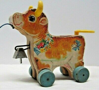 Fisher Price 1961 Bossy Bell the Cow Pull Toy