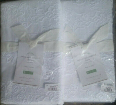 2 Pottery Barn ADETTE EMBROIDERED King Pillow Shams White NEW