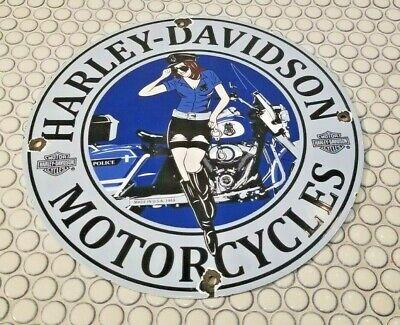 VINTAGE HARLEY DAVIDSON MOTORCYCLE PORCELAIN PIN UP SERVICE STATION PUMP SIGN