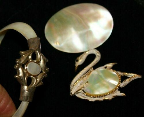 UNUSUAL MARRIED PIN AND BRACELET UNSIGNED VINTAGE LOT WITH ABALONE COLORS