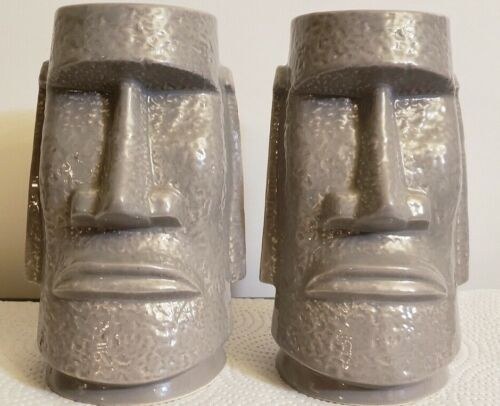 Mid Century Style Tiki Grey Mug Cup Ceramic Easter Island Statue Fireside