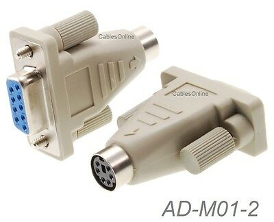 2-PACK PS/2 MiniDin6 Female to DB9 Serial Female Mouse Adapter - AD-M01-2