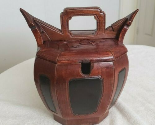 1800's Antique Chinese Red & Black Hexagon Wooden Basket, Tea Pot Warmer Rare