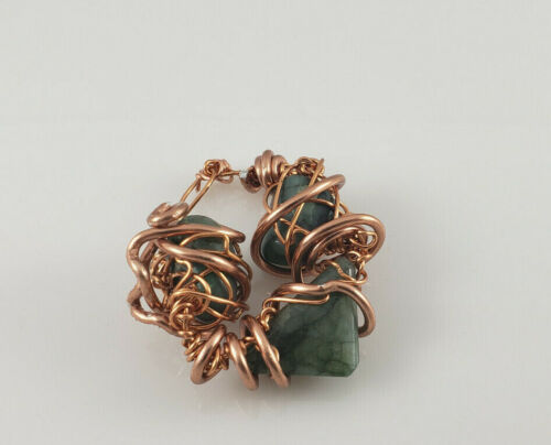 """Healing Stone (Green) Crystal Pendant with Copper Wire 2"""""""