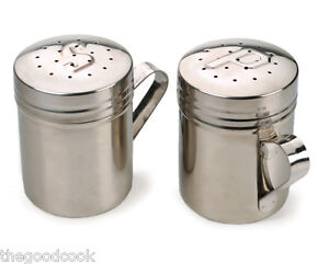 NEW ~ 18/8 STAINLESS STEEL SALT & PEPPER STOVETOP GRILL SIZED SHAKER ~ SET OF 2