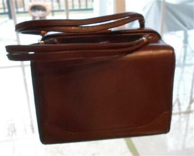 1950s Handbags, Purses, and Evening Bag Styles 1950's Vintage Box Style Handbag Brown Calfskin Leather Excellent Condition $59.00 AT vintagedancer.com